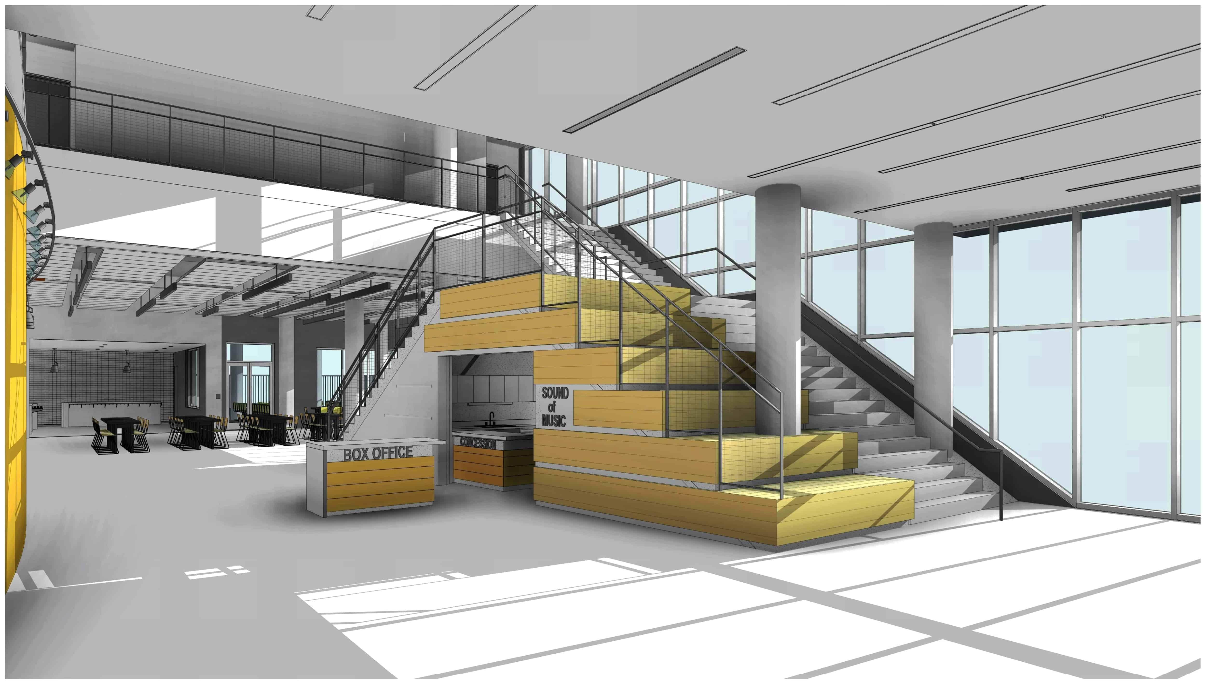 Kinder HSPVA Lobby Stair Perspective Rendering